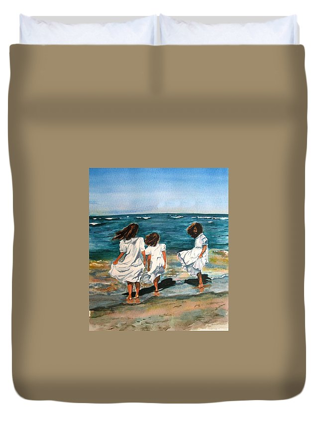 Girls Duvet Cover featuring the painting Windy Day by Karen Ilari