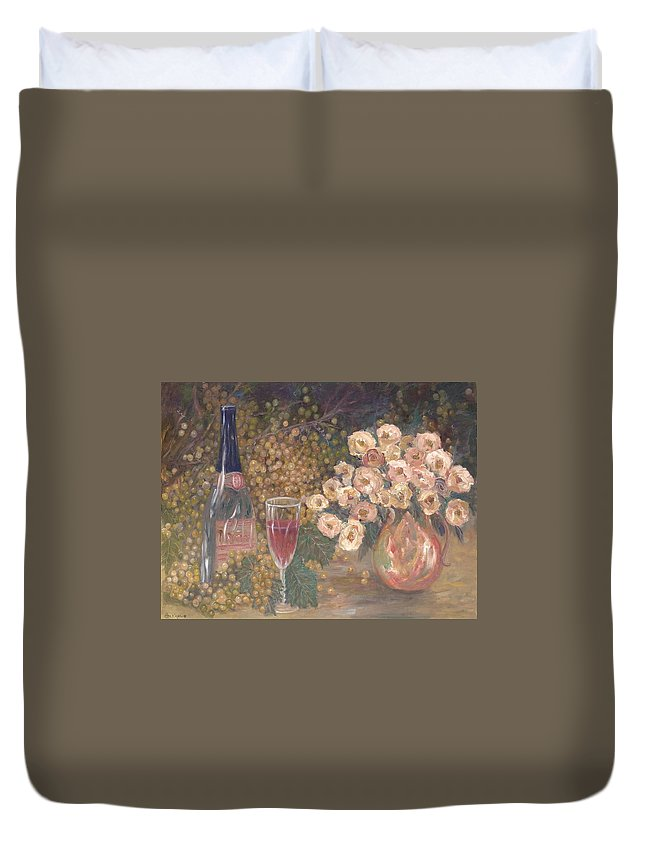 Stilllife; Floral; Wine Duvet Cover featuring the painting Wine And Roses by Ben Kiger
