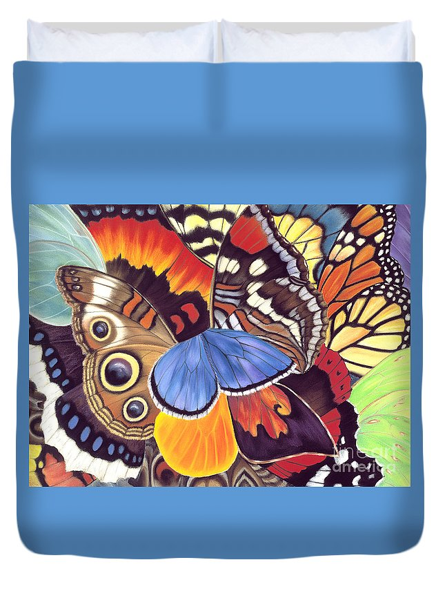 Butterflies Duvet Cover featuring the painting Wings Of California by Lucy Arnold