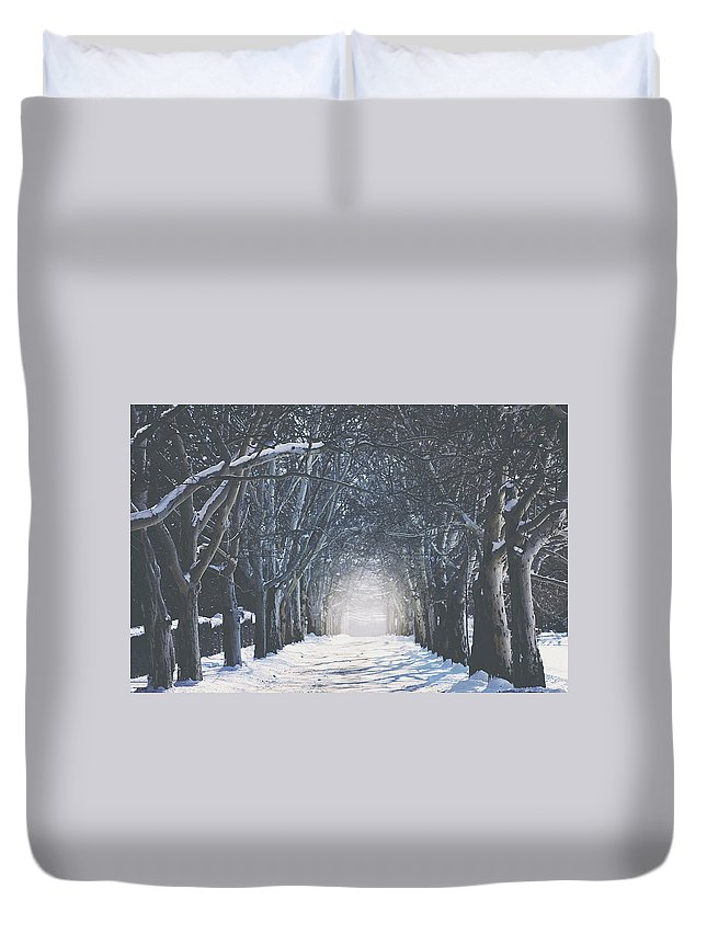 Scenic Duvet Cover featuring the photograph Winter Road by Carrie Ann Grippo-Pike