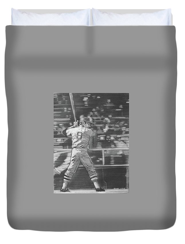 Charcoal On Paper Duvet Cover featuring the drawing Yaz - Carl Yastrzemski by Sean Connolly