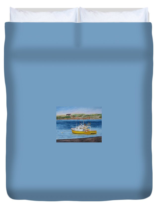 Landscape Duvet Cover featuring the painting Yellow Bird by Sharon Farber