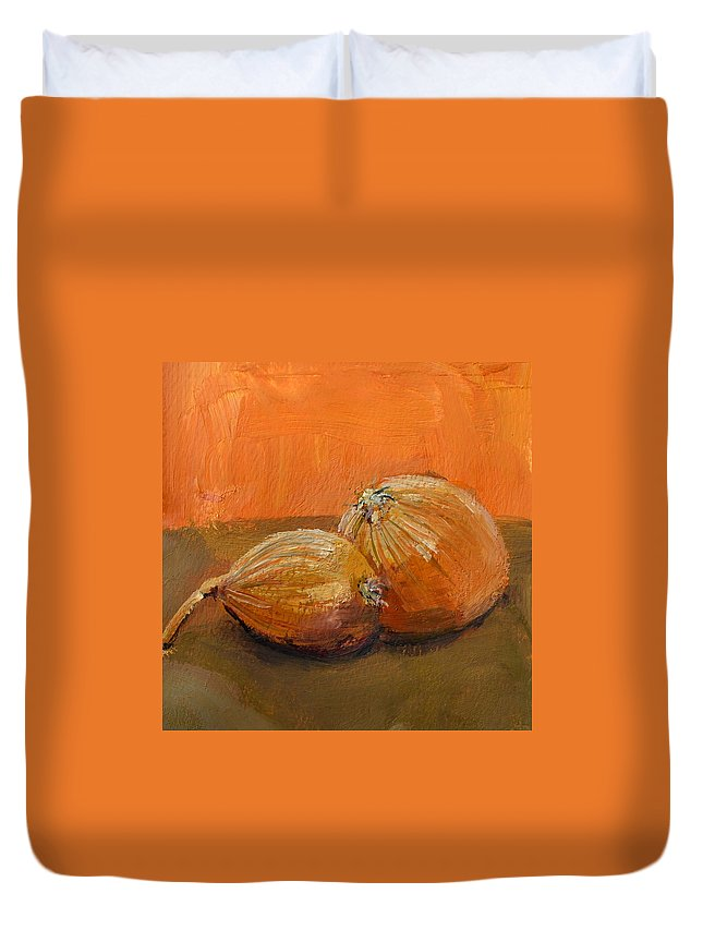 Agriculture Duvet Cover featuring the painting Yellow Onions Still Life by Michelle Calkins