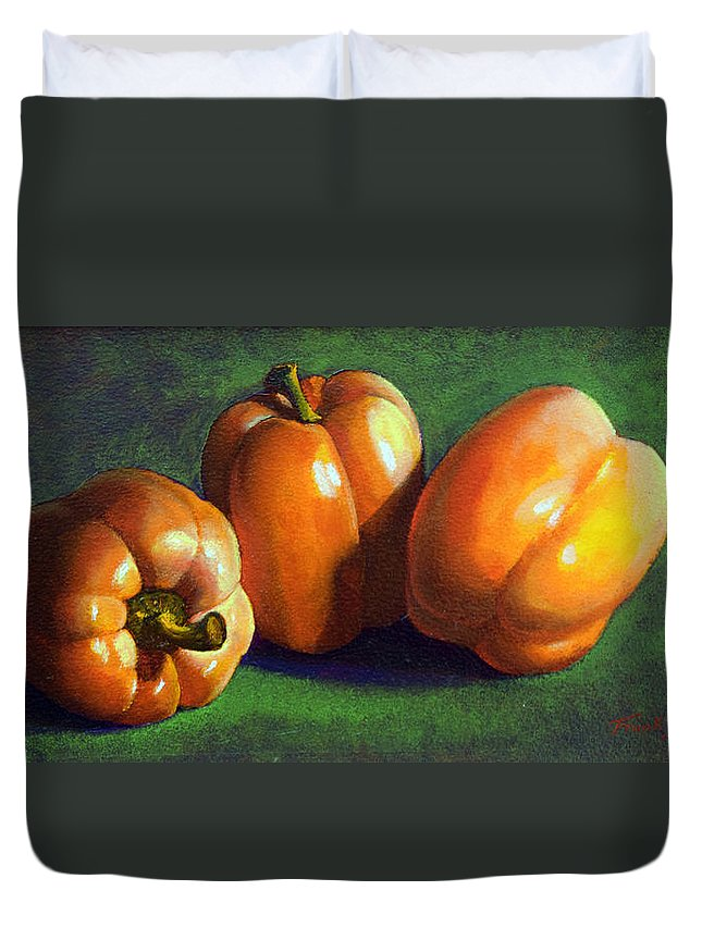Yellow Peppers Duvet Cover featuring the painting Yellow Peppers by Frank Wilson