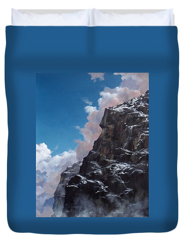 Yosemite Duvet Cover featuring the painting Yosemite cliff face by Philip Fleischer
