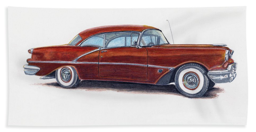 Car Bath Sheet featuring the drawing 1956 Oldsmobile Super 88 by Heather Stinnett