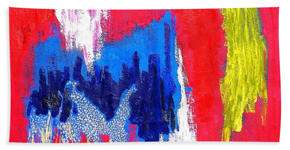 Abstract Hand Towel featuring the painting Abstract Tn 005 By Taikan by Taikan Nishimoto