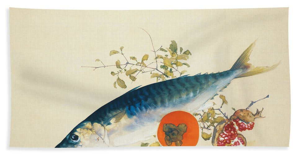 Takeuchi Seiho Hand Towel featuring the painting Autumn Fattens Fish And Ripens Wild Fruits by Takeuchi Seiho