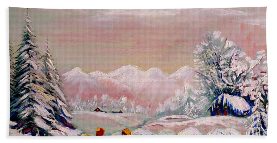 Beautiful Winter Fairytale Hand Towel featuring the painting Beautiful Winter Fairytale by Carole Spandau