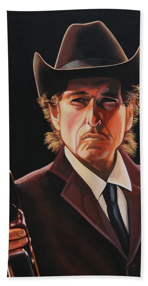 Bob Dylan Hand Towel featuring the painting Bob Dylan 2 by Paul Meijering