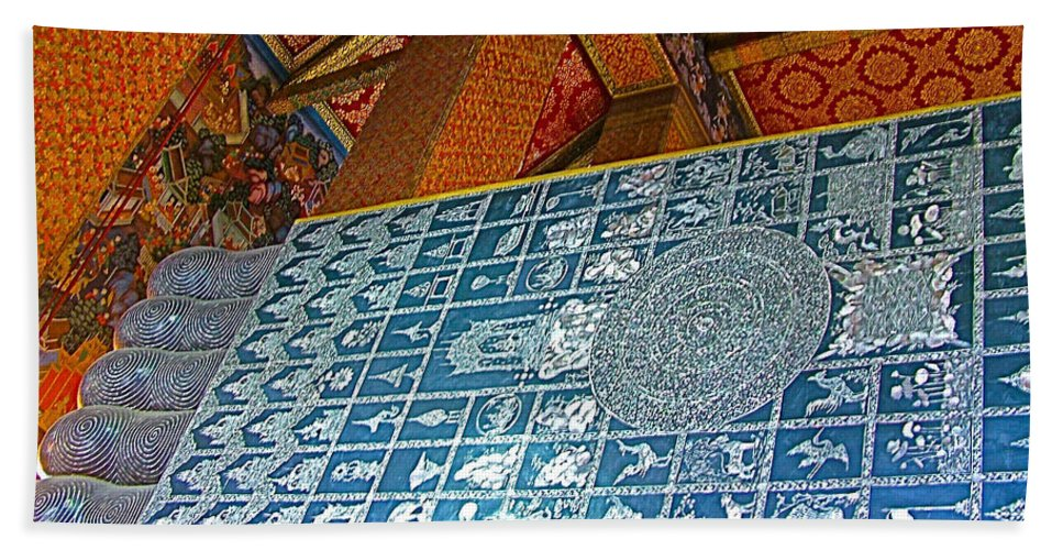 Bottom Of A Foot Of Reclining Buddha In Wat Po In Bangkok Hand Towel featuring the photograph Bottom Of A Foot Of Reclining Buddha In Wat Po In Bangkok-thail by Ruth Hager