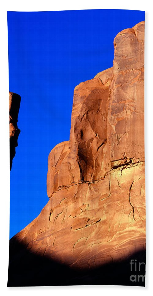 Arches National Park Bath Sheet featuring the photograph Courthouse Towers by Tracy Knauer