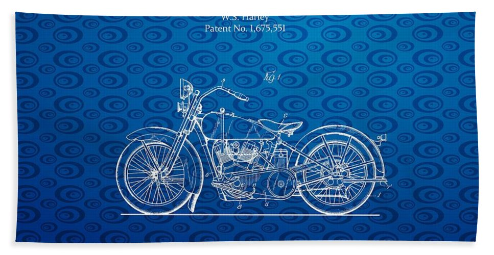 Harley Bath Sheet featuring the photograph Design For A 1928 Harley Motorcycle Patent by Doc Braham
