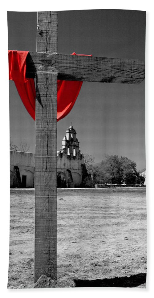 Easter Hand Towel featuring the photograph Mission San Juan Easter Cross by David and Carol Kelly