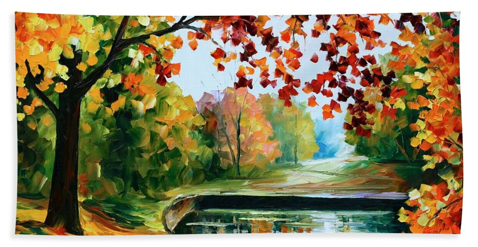 Afremov Hand Towel featuring the painting Far Hills by Leonid Afremov