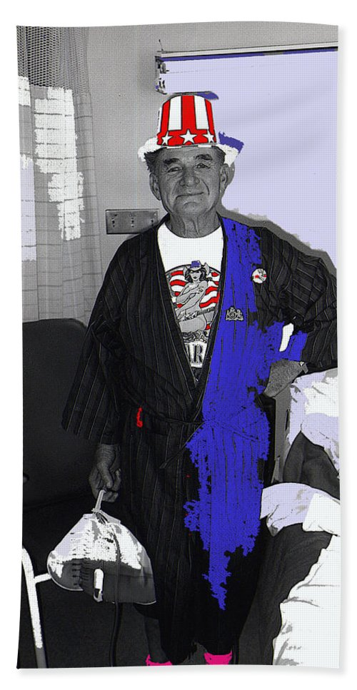 Film Homage Lee Marvin Toshiro Mifune Hell In The Pacific 1968 Russell Short July 4th Tucson Medical Center Tucson Arizona 1990 Color Added Bath Sheet featuring the photograph Film Homage Lee Marvin Hell In The Pacific 1968 Russell Short July 4th Tmc Tucson 1990-2011 by David Lee Guss