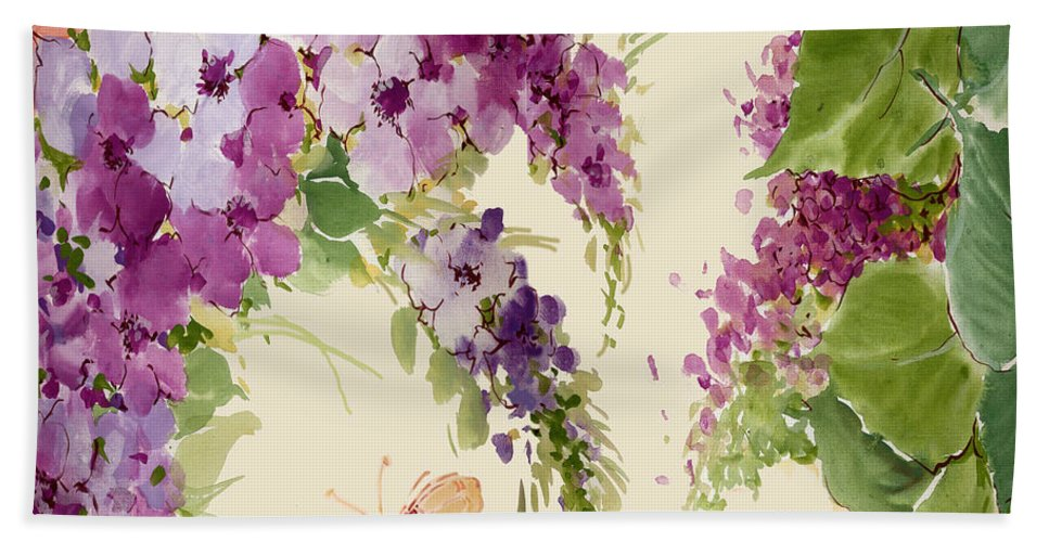 Butterfly Bath Sheet featuring the painting Flowering Butterfly Bush by Annemarie Luaces