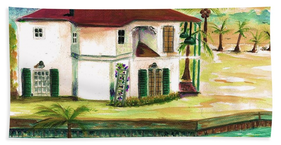 Fort Lauderdale Hand Towel featuring the painting Fort Lauderdale Waterway by Bernadette Krupa