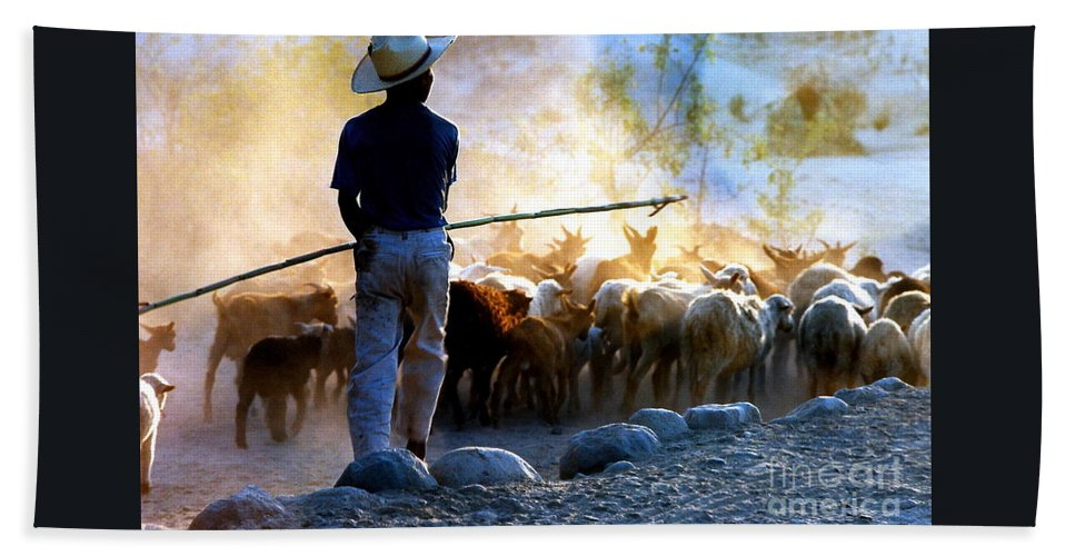 Rocks Bath Sheet featuring the photograph Herder Going Home In Mexico by Phyllis Kaltenbach
