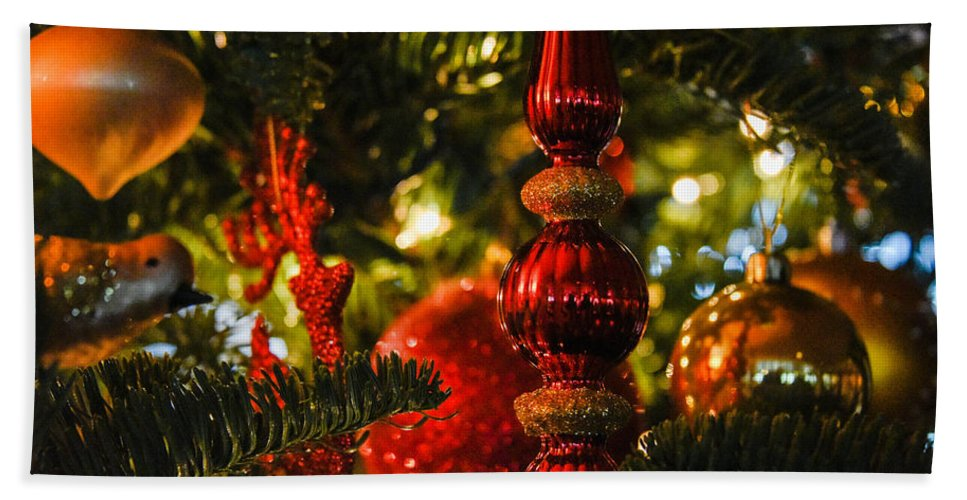Christmas Tree Hand Towel featuring the photograph Holiday Decorations by Lee Roth