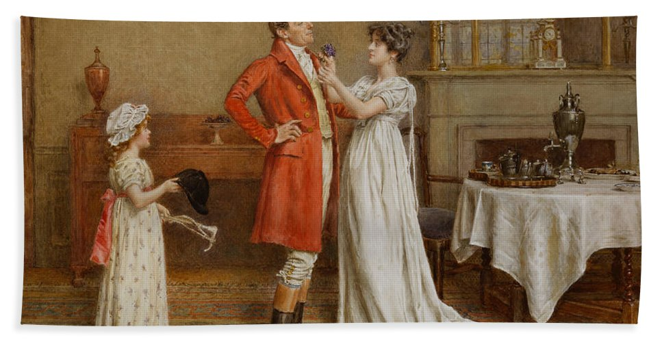 Interior; Male; Female; Wish; Wishing; Luck; Child; Girl; 19th; 20th; Pinning; Posy; Sentimental; Gesture; Huntsman; Red Coat; Cap; Hat; Whip; Hunting; Foxhunting; Breakfast; Silver; Husband; Wife Hand Towel featuring the painting I Wish You Luck by George Goodwin Kilburne