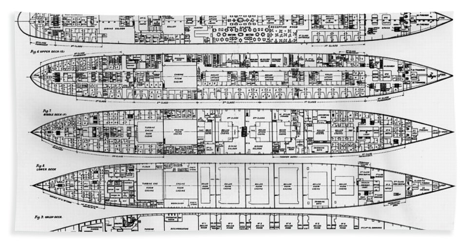 Plan; Bulkhead; Exit; Diagram; Ocean Liner; Boat; Luxury; Tragic Hand Towel featuring the photograph Inquiry In The Loss Of The Titanic Cross Sections Of The Ship by English School