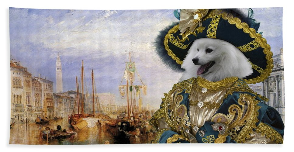 Japanese Spitz Hand Towel featuring the painting Japanese Spitz Art Canvas Print by Sandra Sij