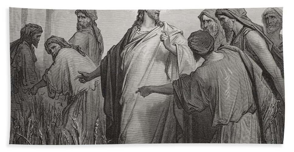 Apostles; Walking; Preaching; Apostle; Disciple; Jesus Christ; Prophet Hand Towel featuring the drawing Jesus And His Disciples In The Corn Field by Gustave Dore