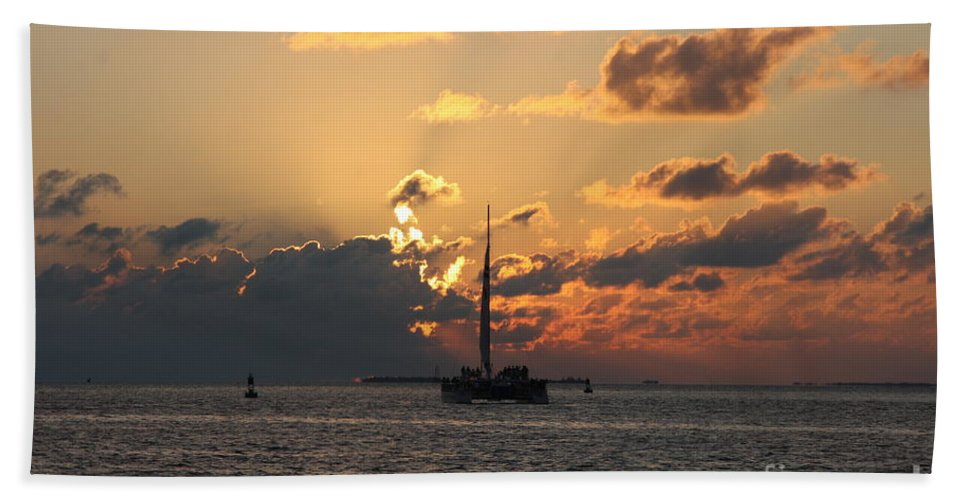 Sunset Hand Towel featuring the photograph Marelous Key West Sunset by Christiane Schulze Art And Photography