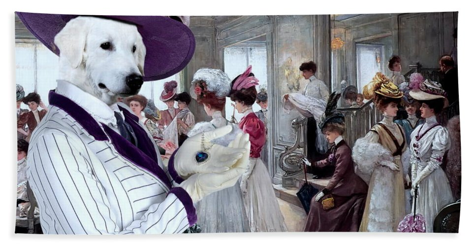 Kuvasz Hand Towel featuring the painting Kuvasz Art Canvas Print by Sandra Sij