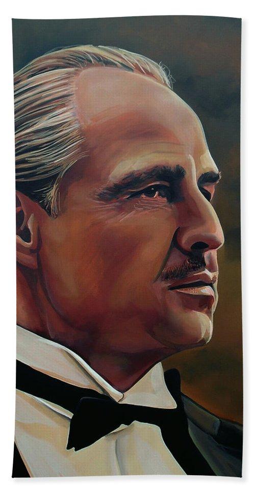 Marlon Brando Bath Sheet featuring the painting Marlon Brando by Paul Meijering