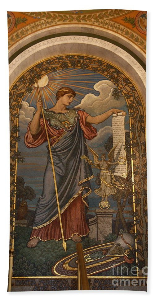 Library Of Congress Hand Towel featuring the photograph Minerva Of Peace Mosaic by Christiane Schulze Art And Photography