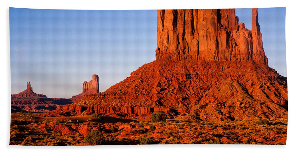 Arizona Bath Sheet featuring the photograph Monument Valley Sunset by Tracy Knauer