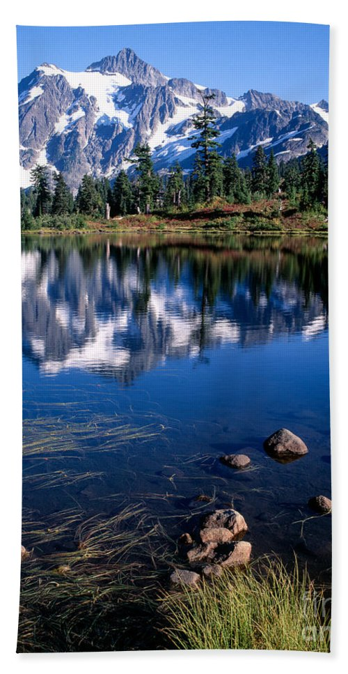 Lake Hand Towel featuring the photograph Mt. Shuksan Reflected In Picture Lake by Tracy Knauer