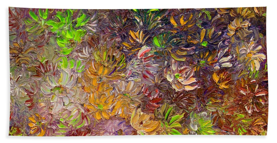 Green Abstract Hand Towel featuring the painting My Pretty Green Pallet by Karin Dawn Kelshall- Best