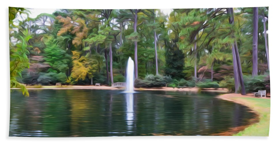 Fonatine Hand Towel featuring the painting Norfolk Botanical Gardens 2 by Jeelan Clark