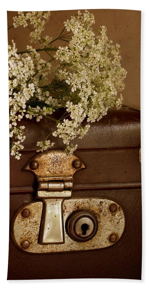 Suitcase Bath Sheet featuring the photograph Old Suitcase by Guna Andersone