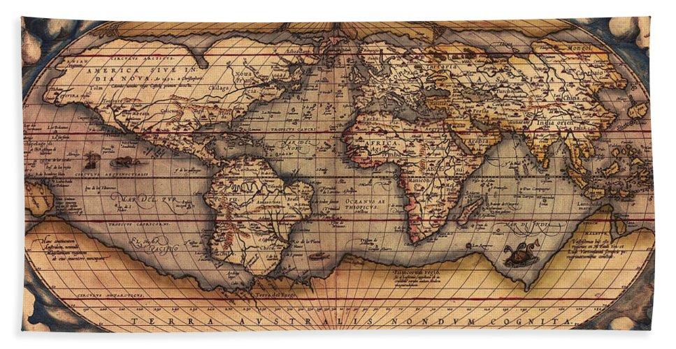 Ortelius Bath Sheet featuring the photograph Ortelius World Map -typvs Orbis Terrarvm - 1570 by Bill Cannon