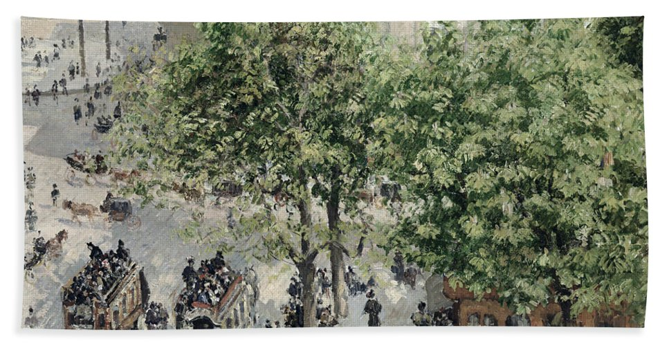 Impressionist Hand Towel featuring the painting Place Du Theatre Francais by Camille Pissarro