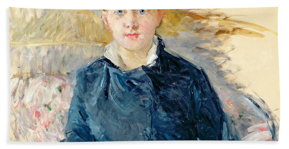 Female; Seated; Impressionist; Berthe Morisot Bath Sheet featuring the painting Portrait Of Louise Riesener by Berthe Morisot