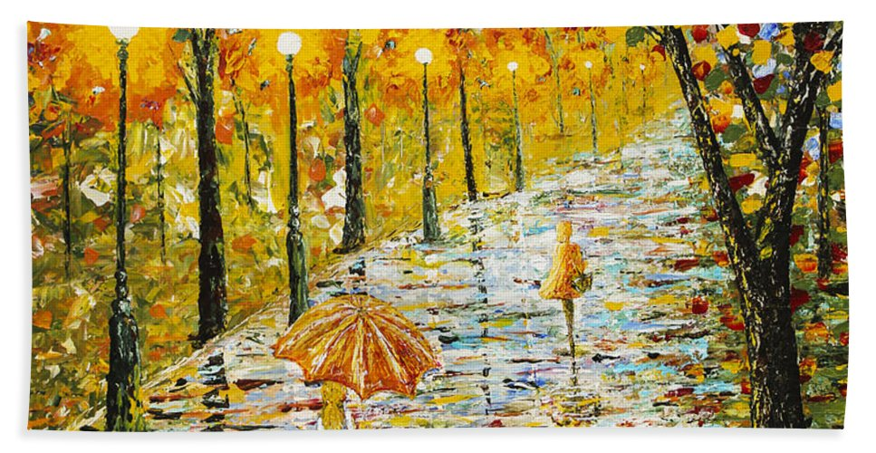 Rainy Day Hand Towel featuring the painting Rainy Autumn Beauty Original Palette Knife Painting by Georgeta Blanaru