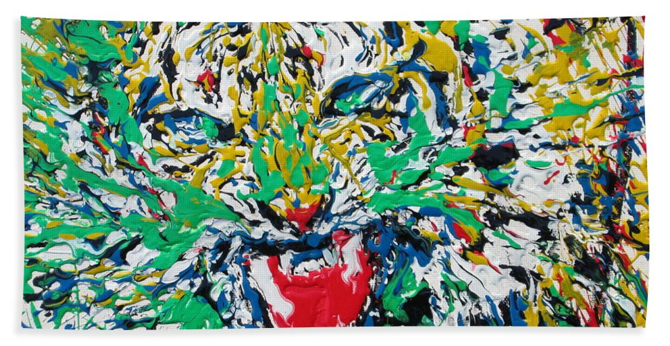 Tiger Hand Towel featuring the painting Roaring Enamel Tiger by Fabrizio Cassetta