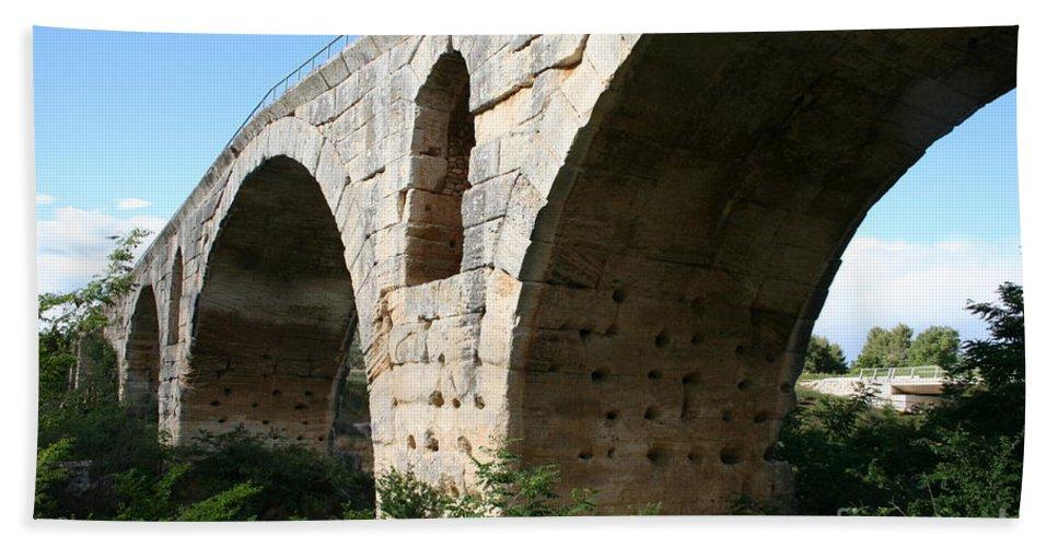 Roman Stonebridge Bath Sheet featuring the photograph Roman Bridge Pont St. Julien by Christiane Schulze Art And Photography