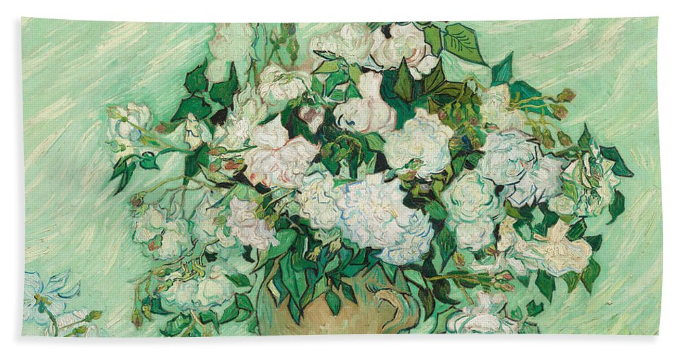 Flowers Bath Sheet featuring the painting Roses by Vincent van Gogh