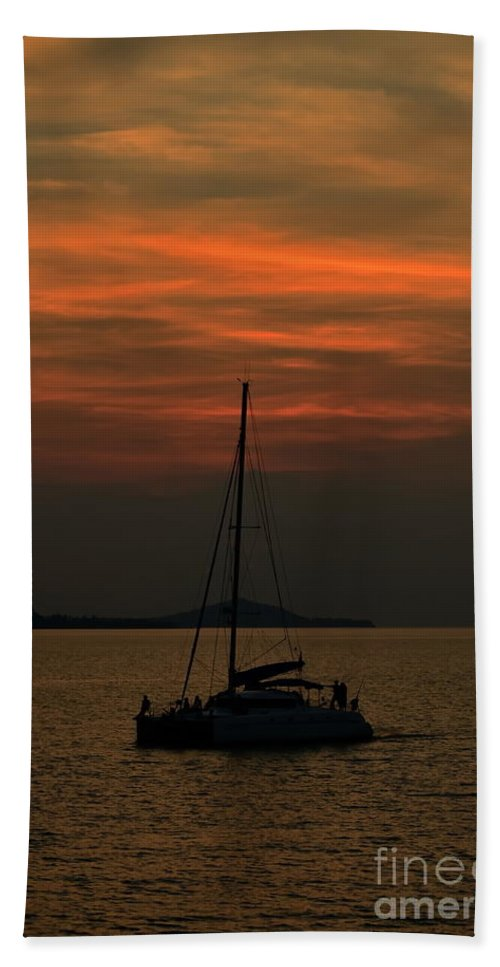 Michelle Meenawong Hand Towel featuring the photograph Sailing by Michelle Meenawong