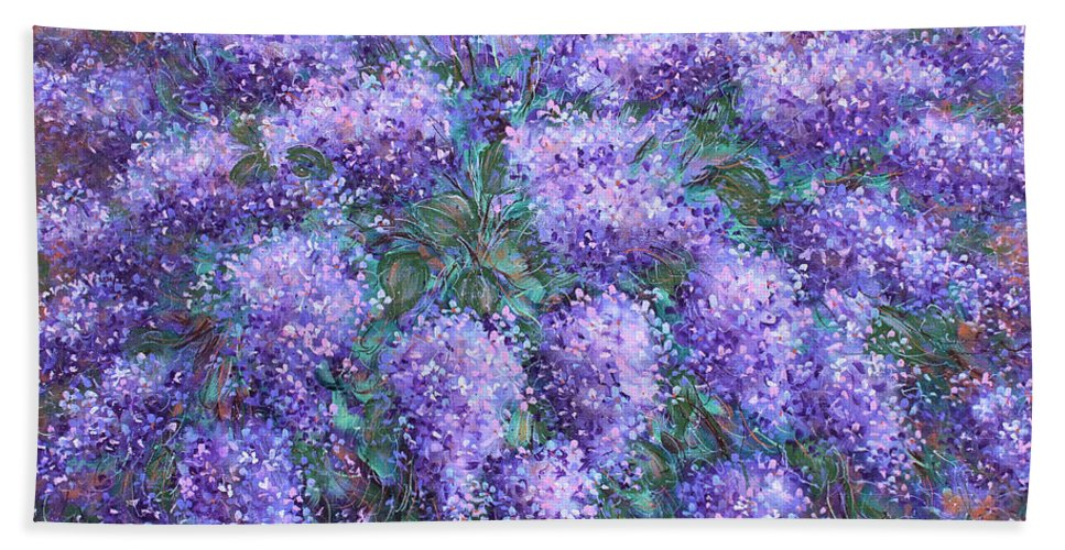 Flowers Bath Towel featuring the painting Scented Lilacs Bouquet by Natalie Holland