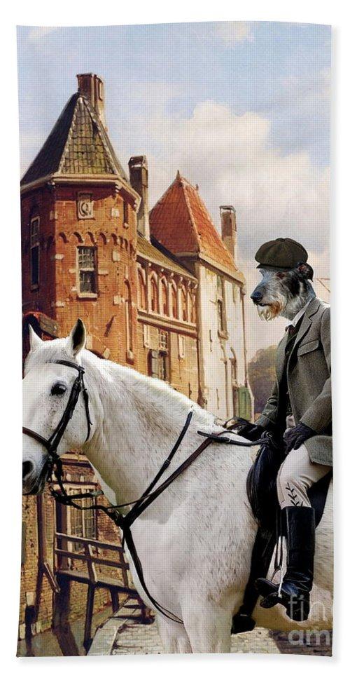 Scottish Deerhound Bath Sheet featuring the painting Scottish Deerhound Art Canvas Print by Sandra Sij