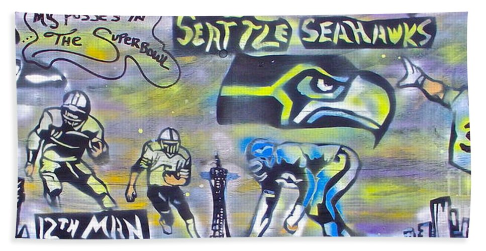 Jimi Hendrix Hand Towel featuring the painting Seattle Seahawks Superbowl by Tony B Conscious