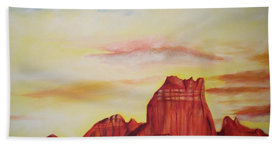 Western Hand Towel featuring the painting Sedona Az by Eric Schiabor