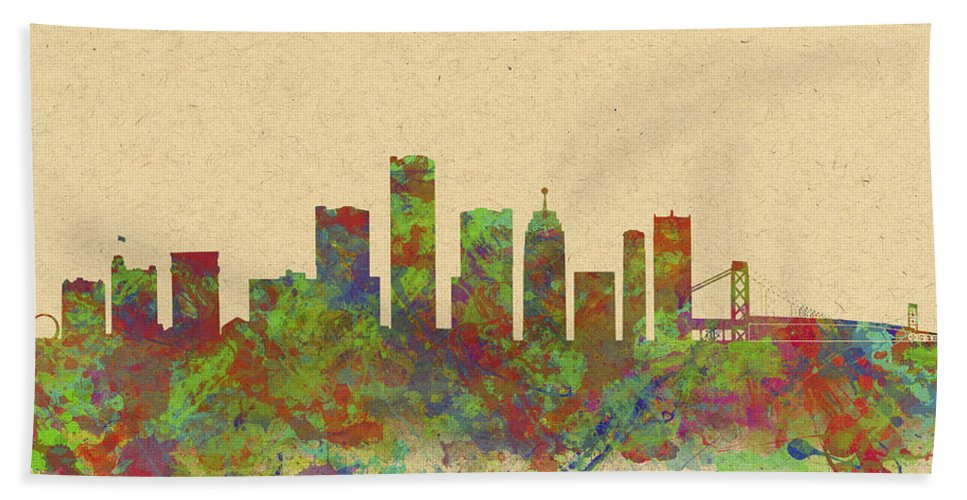 Detroit Hand Towel featuring the photograph Skyline Of Detroit Usa by Chris Smith